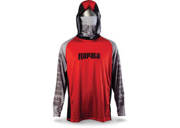 Rapala® Performance Hood with Neck Gaiter Red Grey Black